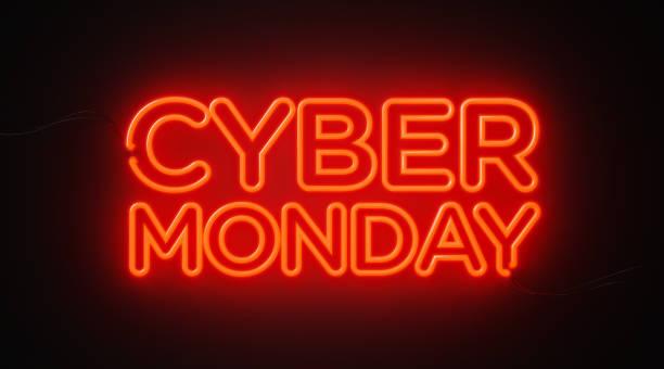 cyber monday red neon light on black wall - cyber monday concept - cyber monday стоковые фото и изображения