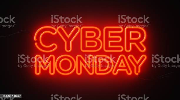 Cyber Monday Red Neon Light On Black Wall Cyber Monday Concept — стоковые фотографии и другие картинки Без людей