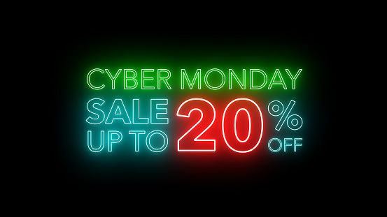 Cyber Monday sale colorful neon sign banner in black background for promote. concept of promotion brand sale series 10-90%