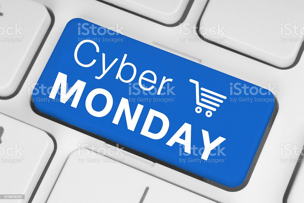 Cyber Monday sale on a keyboard stock photo