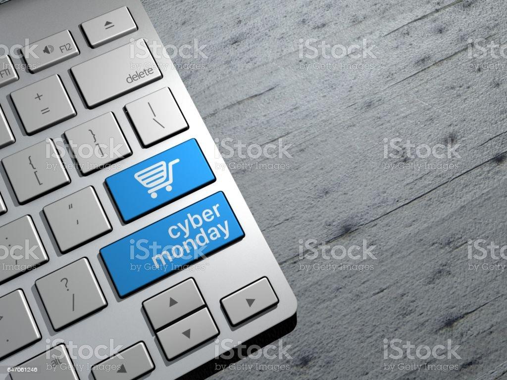Cyber-Monday, Technologie-Vertrieb, online shopping, shopping Angebote. Computer-Tastatur-Tasten. 3D-Rendering – Foto