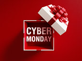 istock Cyber Monday Text Coming Out Of A White Gift Box Tied With Red Ribbon 1048397282