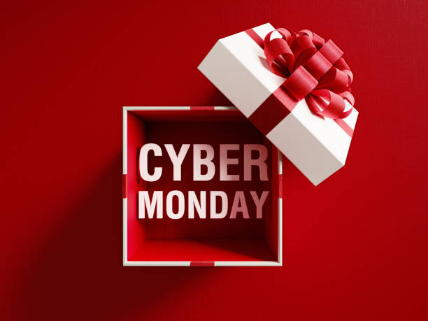 cyber monday text coming out of a white gift box tied with red ribbon - cyber monday стоковые фото и изображения