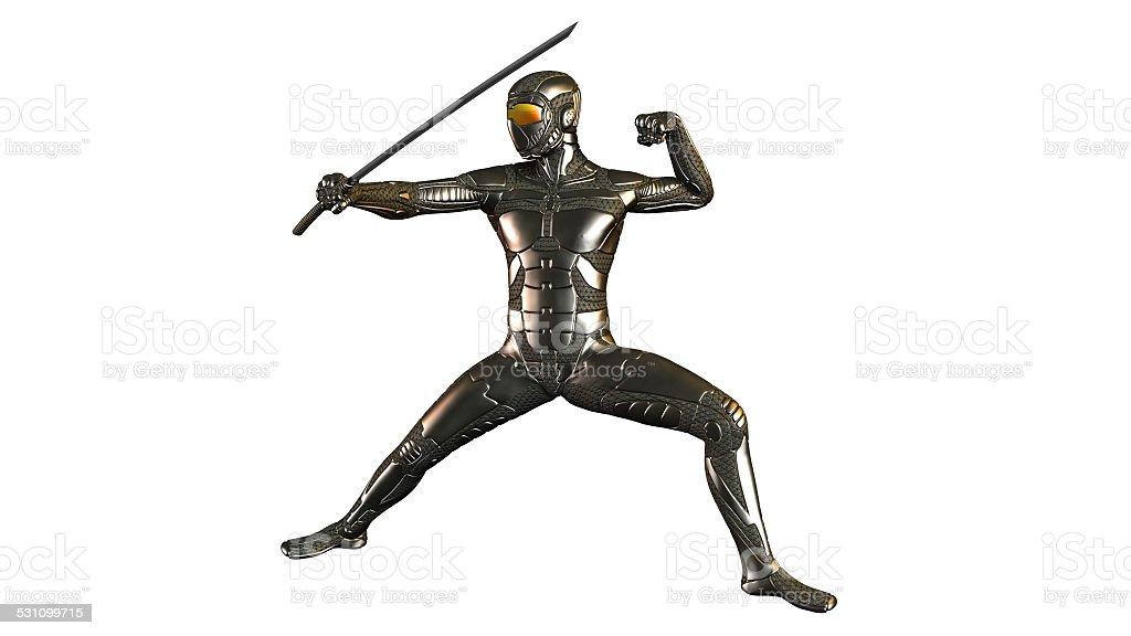 Cyber Ninja Warrior with Sword stock photo