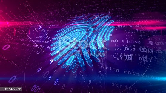 istock Cyber protection by fingerprint on digital background 1127397672