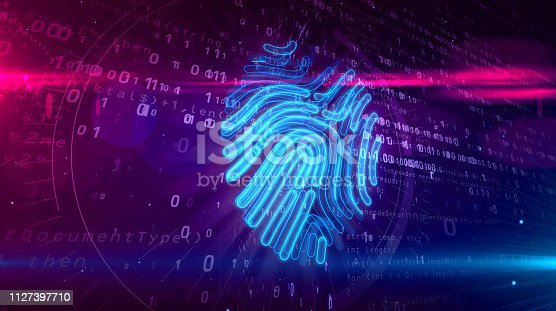 istock Cyber protection by fingerprint on digital background 1127397710