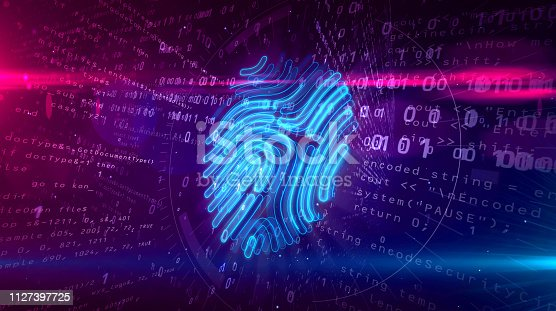 istock Cyber protection by fingerprint on digital background 1127397725