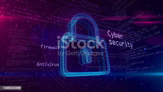 istock Cyber security abstract concept with padlock 3D illustration 1098303388