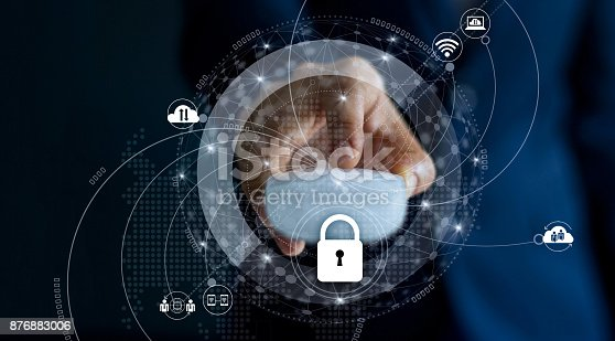istock Cyber Security and Data network protection Privacy Business Concept. Businessman with mouse in hand and lock icon with customer network connection on dark background. 876883006