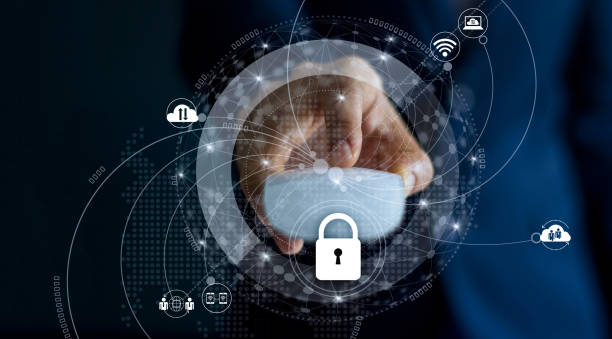 cyber security and data network protection privacy business concept. businessman with mouse in hand and lock icon with customer network connection on dark background. - privacy policy stock photos and pictures