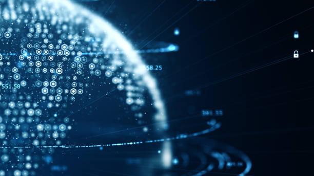 cybersäkerhet och globalt kommunikations koncept. analys av information. teknik data binär kod nätverk förmedla anslutning, data och informations skydd protokoll. - jorden nyheter bildbanksfoton och bilder