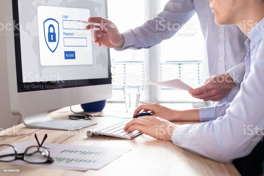Cyber security concept, authentication screen on computer, confidential business data stock photo