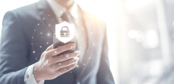 Cyber security concept, Businessman hand using smartphone with lock icon,  protection network and internet. Cyber security concept, Businessman hand using smartphone with lock icon,  protection network and internet, copy space. identity theft stock pictures, royalty-free photos & images