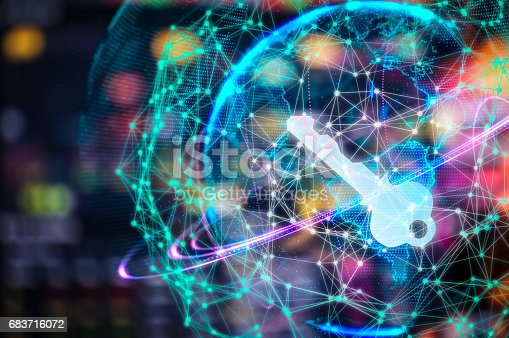 istock Cyber security concept businessman Lock on digital screen, contrast, virtual screen with a consultant doing presentation in the background Closed Padlock on digital, cyber security, key WannaCrypt 683716072