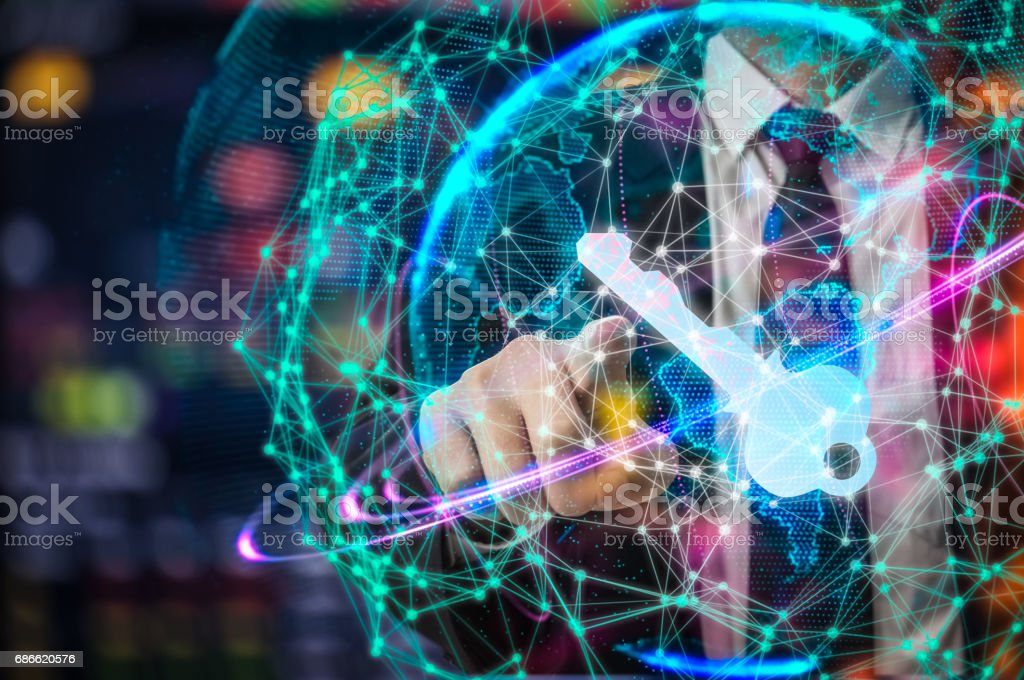 Cyber security concept businessman Lock on digital screen, contrast, virtual screen with a consultant doing presentation in the background Closed Padlock on digital, cyber security, key WannaCrypt royalty-free stock photo