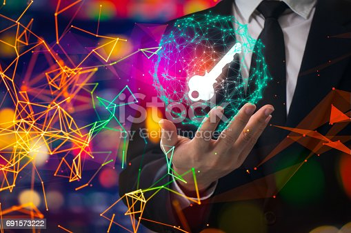 istock Cyber security concept businessman Lock on digital screen, contrast, virtual screen with a consultant doing presentation in the background Closed Padlock on digital, cyber security, key WannaCrypt 691573222