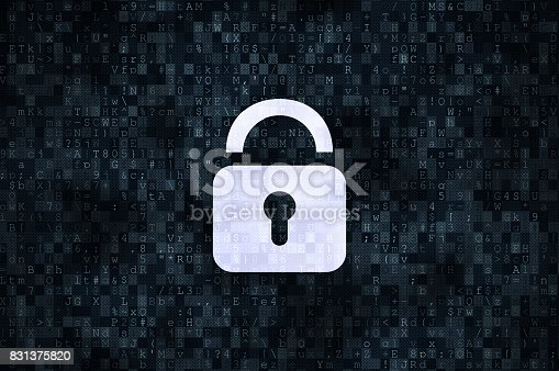 istock Cyber security concept: closed padlock 831375820