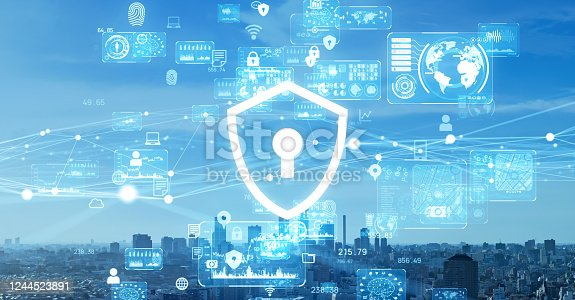 502195097 istock photo Cyber security concept. Encryption. Data protection. Anti virus software. Communication network. 1244523891