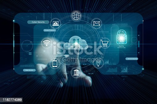 istock Cyber security concept, Hand touching cloud computing and icon network connection on virtual screen ,icon lock, technology and data protection. 1182774089
