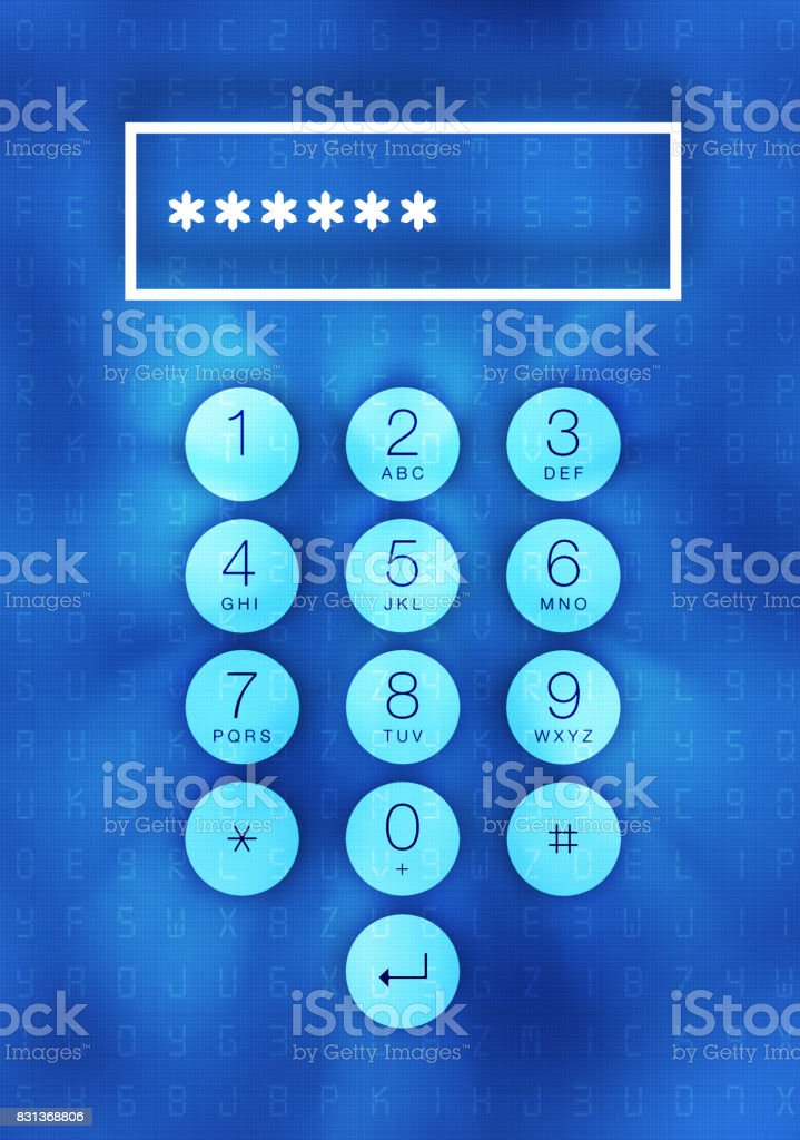 Cyber security concept: input pass code stock photo