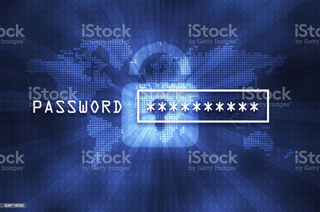 Cyber security concept: input password stock photo