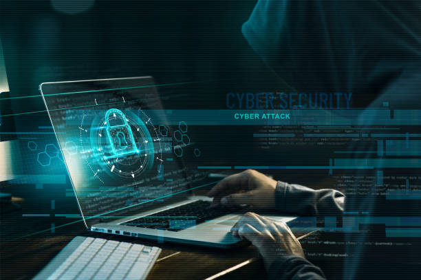 Cyber security concept. Internet crime. Hacker working on a code and network with lock icon on digital interface virtual screen dark digital background. stock photo