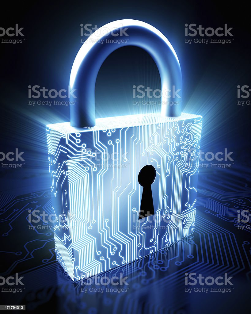 Cyber security concept: lock with circuits stock photo