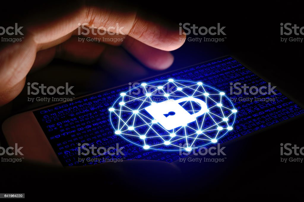 Cyber security concept, Man using smartphone and protect network stock photo