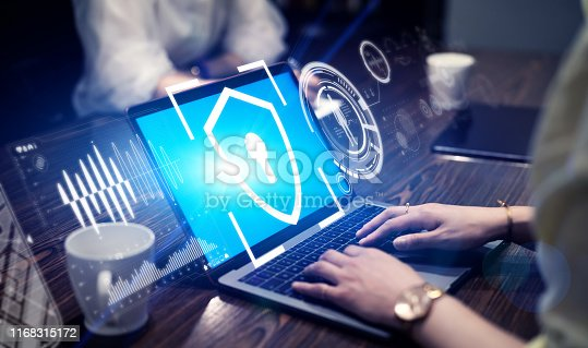 istock Cyber security concept. Network protection. 1168315172