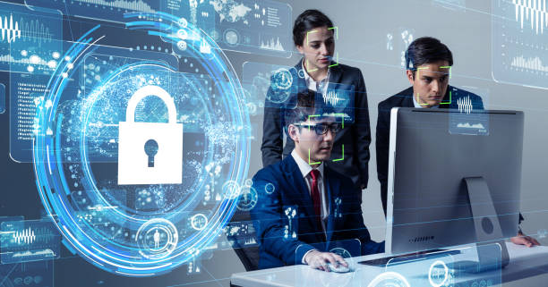 Cyber security concept. Network protection. stock photo