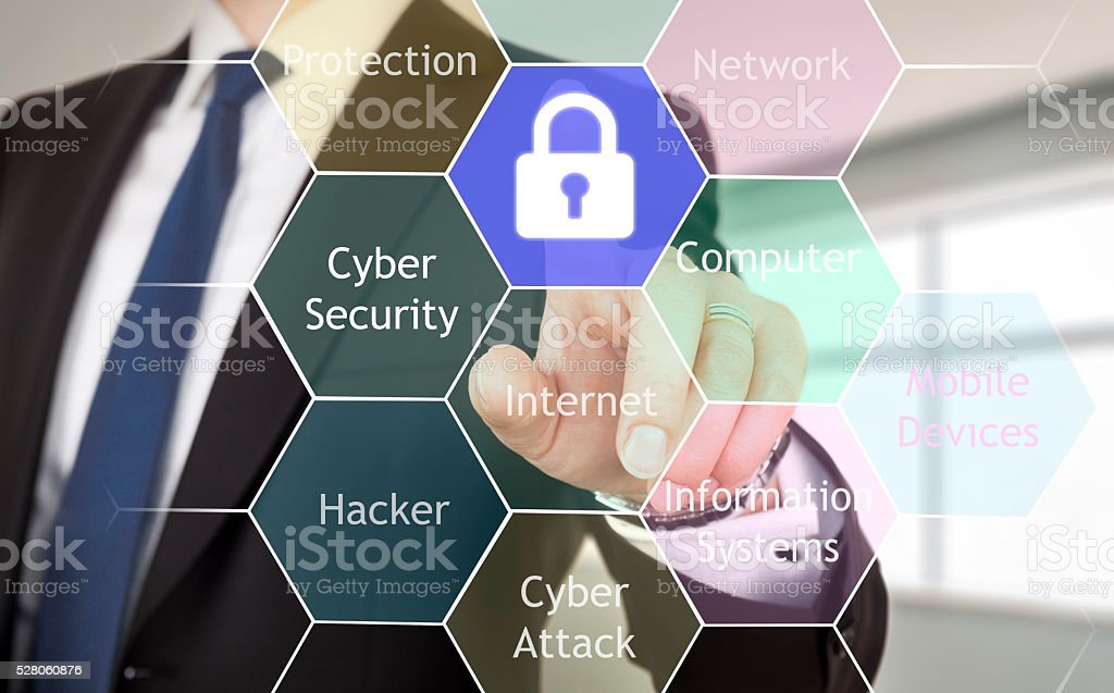 Cyber security concept on virtual screen stock photo