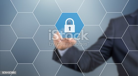 istock Cyber security concept on virtual screen 926492680