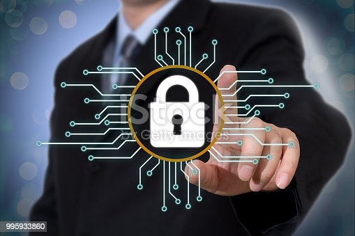 istock Cyber security concept on virtual screen 995933860