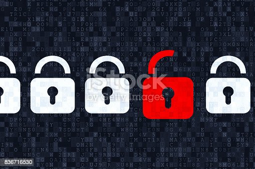 istock Cyber security concept: padlocks on digital background 836716530