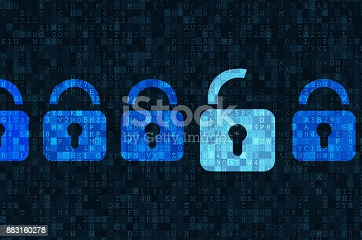istock Cyber security concept: padlocks on digital background 883160278