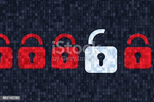 istock Cyber security concept: padlocks on digital background 883160280