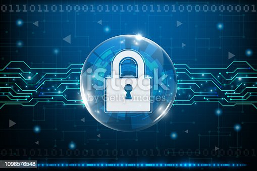 istock Cyber security concept with abstract technology backgrounds 1096576548
