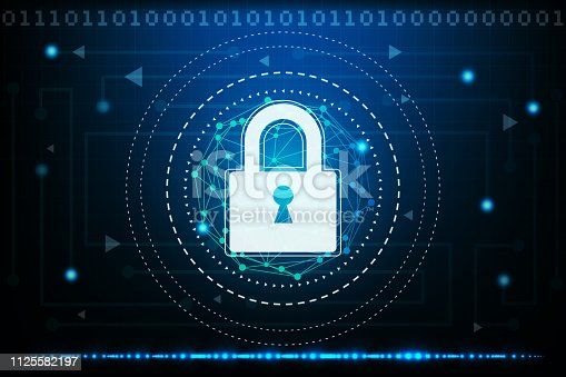 istock Cyber security concept with abstract technology backgrounds 1125582197