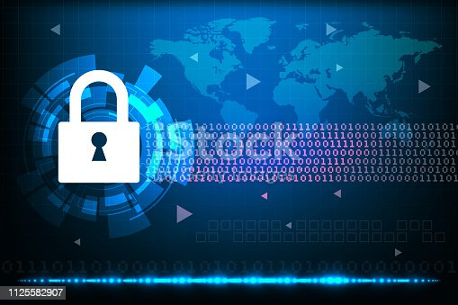 istock Cyber security concept with abstract technology backgrounds 1125582907