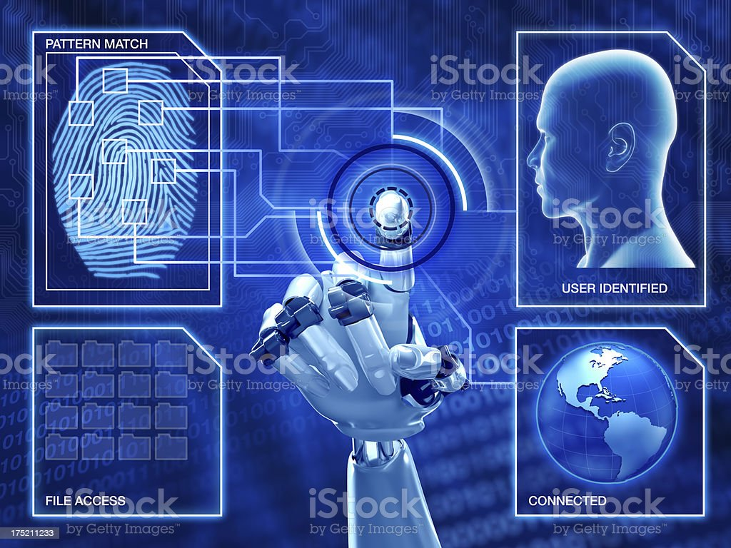 Cyber security concept with fingerprint identification royalty-free stock photo