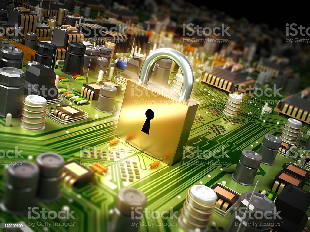 Cyber security concept with lock royalty-free stock photo