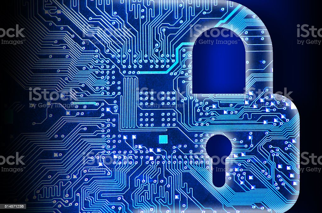 Cyber security concept with lock Cyber security concept with lock Attached Stock Photo