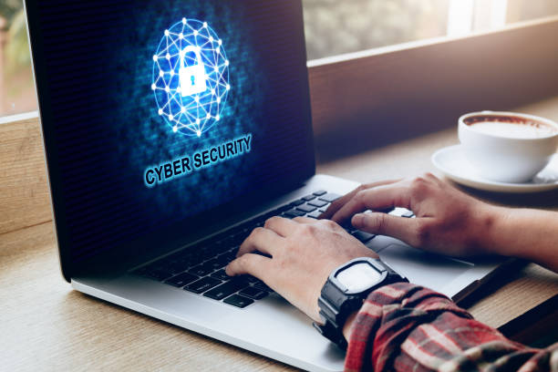 Cyber security data privacy concept with human using laptop at coffee cafe. Cyber security data privacy concept with human using laptop at coffee cafe. threats stock pictures, royalty-free photos & images