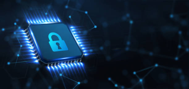 Cyber security data protection business technology privacy concept. Young businessman  select the icon security on the virtual display. stock photo
