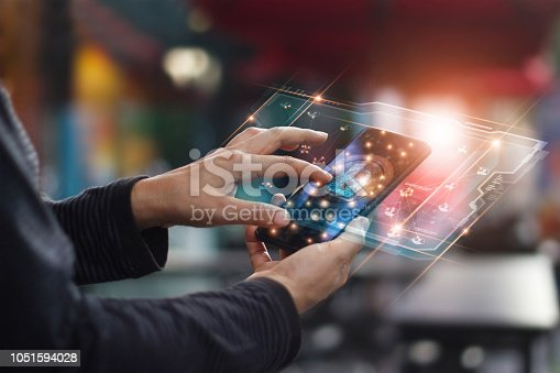 istock Cyber security. Data protection concept. Banking security. Hands touching digital icon padlock and network connection on mobile smartphone, virtual interface screen. 1051594028
