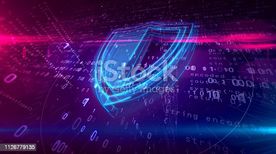 Cyber security abstract concept. 3D contour of shield icon on digital background. Computer safety symbol 3D illustration.