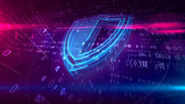 concetto digitale di sicurezza informatica con scudo - protezione foto e immagini stock