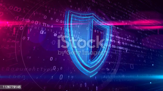 istock Cyber security digital concept with shield 1126779145