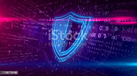 istock Cyber security digital concept with shield 1126779160