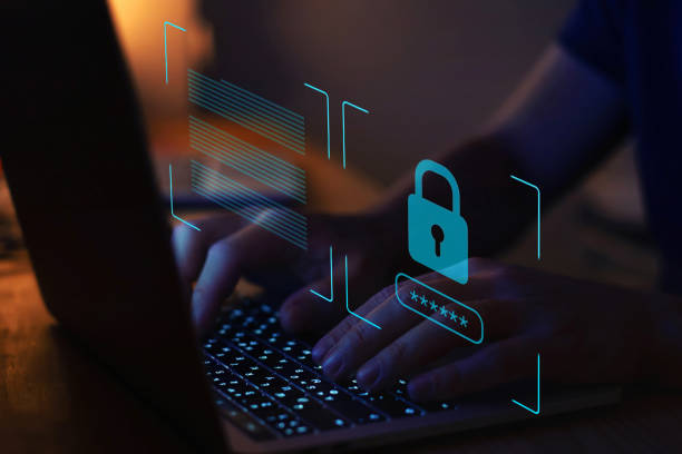 cyber security, digital crime concept stock photo